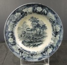 Antique T Till & Sons England Flow Blue Rimmed Soup Bowl - $33.24
