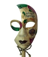 New Orleans Venetian Stick Masquerade Mask Purple Gold Ladies - $18.99