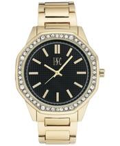 I.N.C. Men's Gold Tone Black Crystals Octagonal Link Bracelet 45mm Watch NIB image 1