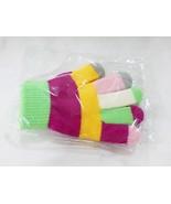 Kids girls multi color stripe knitted winter gloves new - $8.93