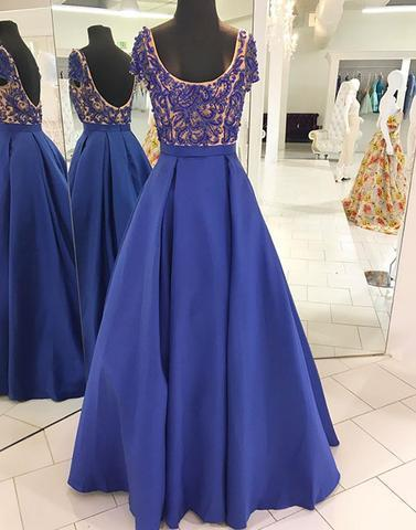 Blue round neck beads long prom dresses, blue evening dresses,PD2053
