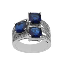 Stackable 925 Fine Silver 3.02 Ctw Tanzanite Color Gemstone Women Cluste... - $35.50