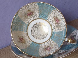 Vintage Paragon Blue white gold English Bone China pink rose Tea Cup Teacup - $78.21