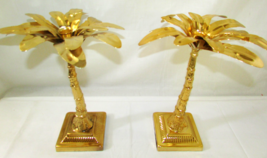 TWO'S COMPANY Tropical Metallic Gold Brass Palm Tree Candlestick Holder ... - $66.45