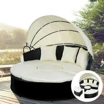 2 In 1 Outdoor Patio Rattan Retractable Canopy Daybed Furniture Lawn Gar... - $569.24