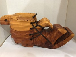 Hand-Carved Wooden Shoe Wood Hobo Boot Signed By Artist Vintage - $44.96