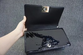 100% AUTH Chanel Le Boy Black Patent Leather Plexiglass Medium Quilted Flap Bag  image 8