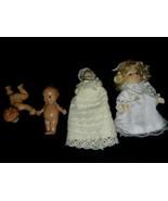 4 Small Dollhouse Dolls Vintage Kewpie Angel 2 Porcelain 1 Anatomical Ma... - $17.99