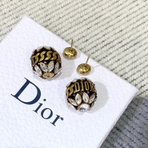 NEW AUTH Christian Dior 2019 DIO(R)EVOLUTION CRYSTAL TRIBALES EARRINGS AGED GOLD image 5