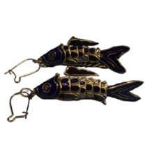 Fish Earring Cobalt Blue Enamel Gold Clad Charm Hook Drop Dangle Costume... - $14.39
