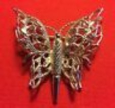 Monet Silvertone Metal Filigree Butterfly Brooch Pin Gift For Mom - $12.38