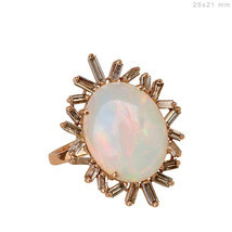Genuine Opal Gemstone Baguette Diamond Handmade Cocktail Fine Ring 18K R... - £1,351.75 GBP