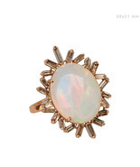Genuine Opal Gemstone Baguette Diamond Handmade Cocktail Fine Ring 18K R... - $1,683.54
