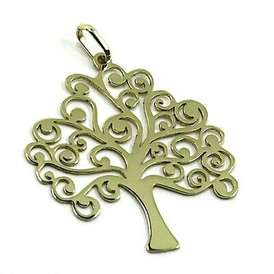 9K YELLOW GOLD PENDANT, FLAT TREE OF LIFE, LENGTH 26 MM, 1.02 INCHES