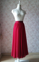 DARK RED Chiffon Maxi Skirt Women Full Maxi Chiffon Skirt Dark Red Wedding Skirt image 3