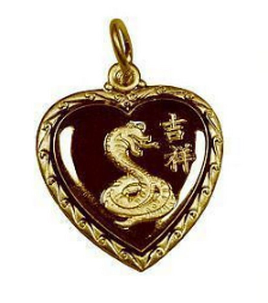 LOOK Chinese Snake Heart Zodiac Pendant TAURUS 24K Gold plated Jewelry