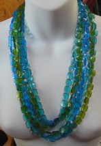 Vintage Long Blue Green Teal Square Faceted Plastic 3-Strand Beaded Neck... - $34.65