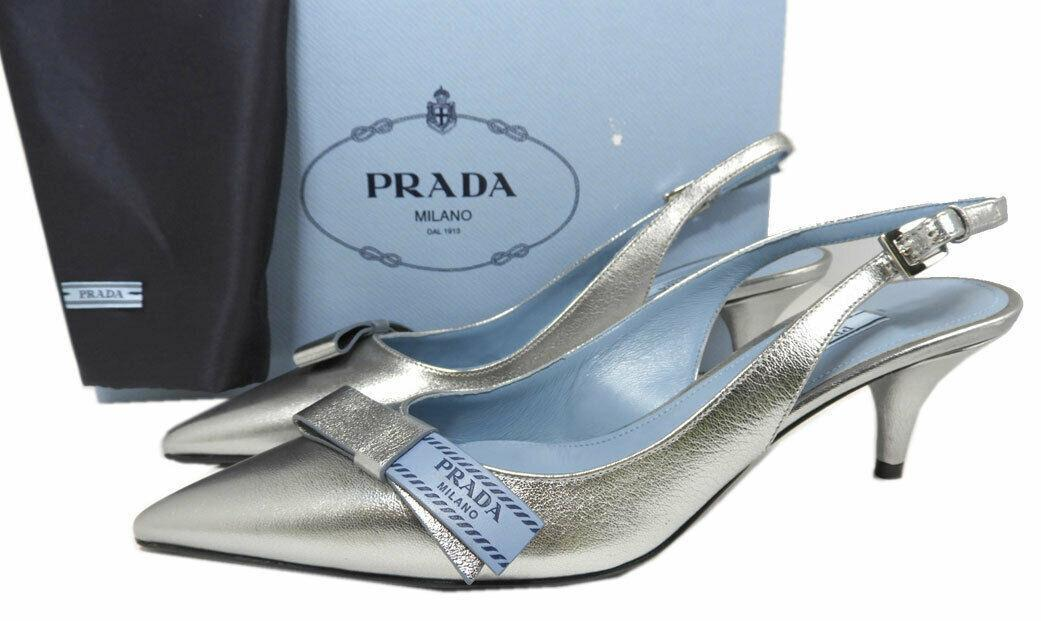 Prada Logo Bow Loafers 39 Silver Leather Slingback Pointed Toe Pumps Shoes