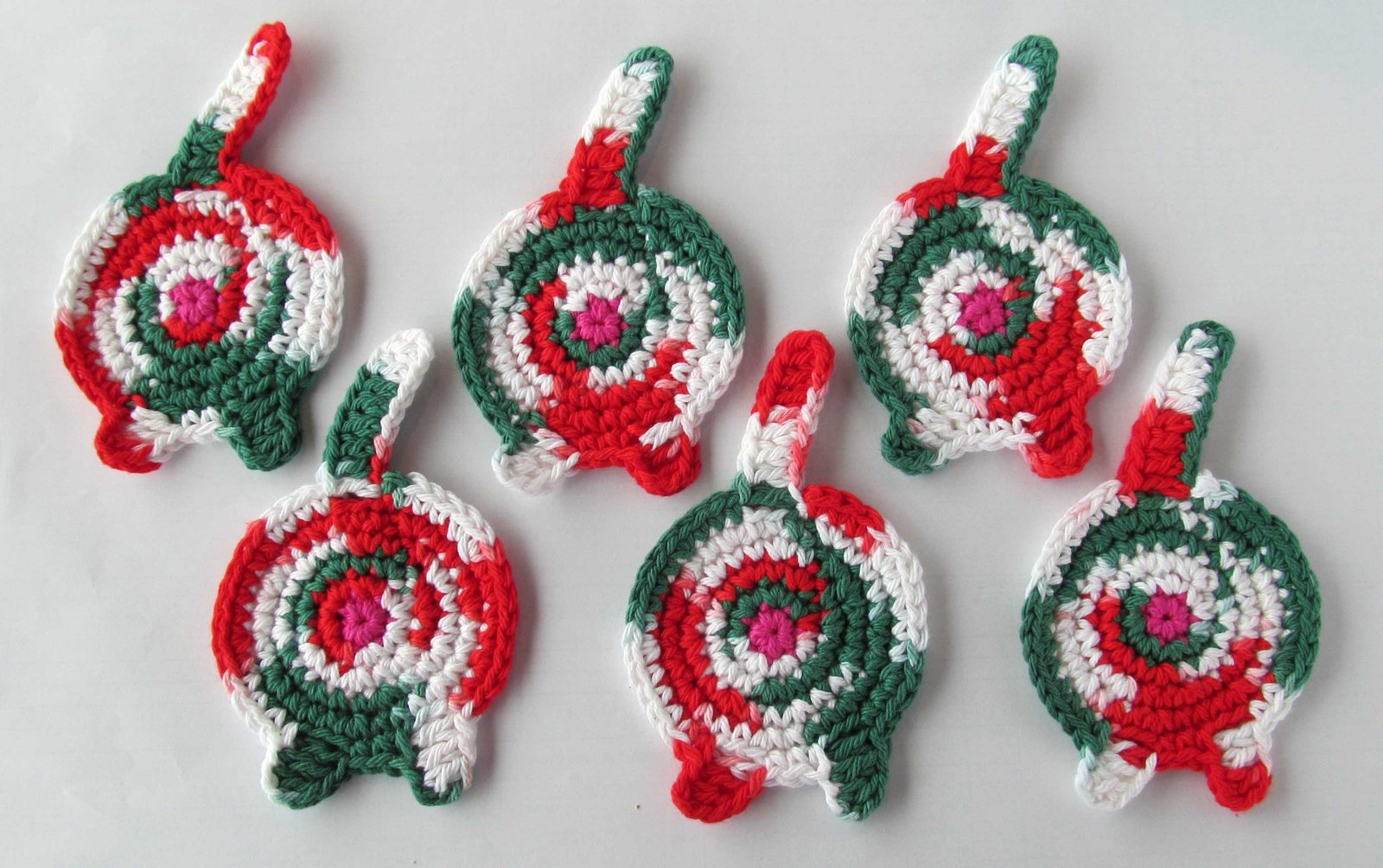 Cat Butt Coasters, Set of 6, Cotton, Christmas Calico
