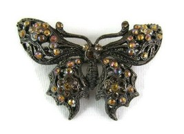 """Vintage Black & Amber Butterfly Brooch 1 7/8"""" Wide Pin Costume Fashion - $21.77"""