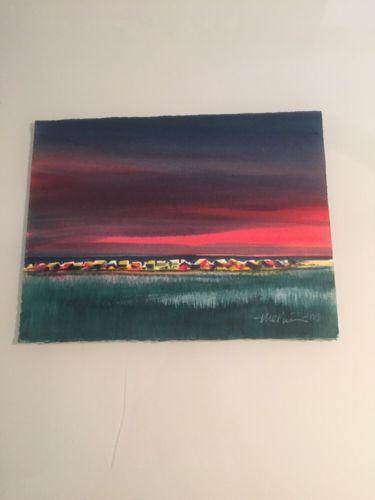 Mystery Artist / Hand Signed Original Watercolor En Plein At Sunset