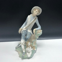 Lladro Figurine Nao Spain Sculpture 4659 Shepard Boy Hat Puppy Dog Pastor Daisa - $262.35