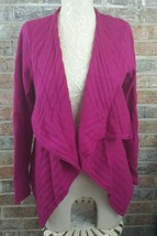 Womens Sz 0 Cashmere Wool pink heather ribbed waterfall CARDIGAN SWEATER - $34.58