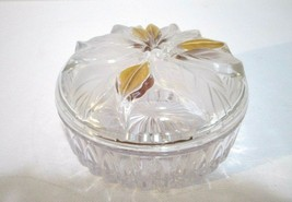 """Studio Nova Poinsettia Crystal Candy Dish Frosted Glass Gold Accent 5 1/2x2 3/4"""" - $9.90"""