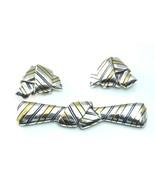Designer Sterling Silver & 18k Striped Bow Tie Knot Brooch Pin & Earring... - $962.27