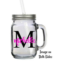 Personalized Name and Initial 16oz Glass Mason Jar Mug with Lid & Straw - $16.99