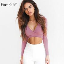 ForeFair 2017 Trend Cross V-neck Sexy Crop Top Women Slim T-shirt Black ... - $19.10