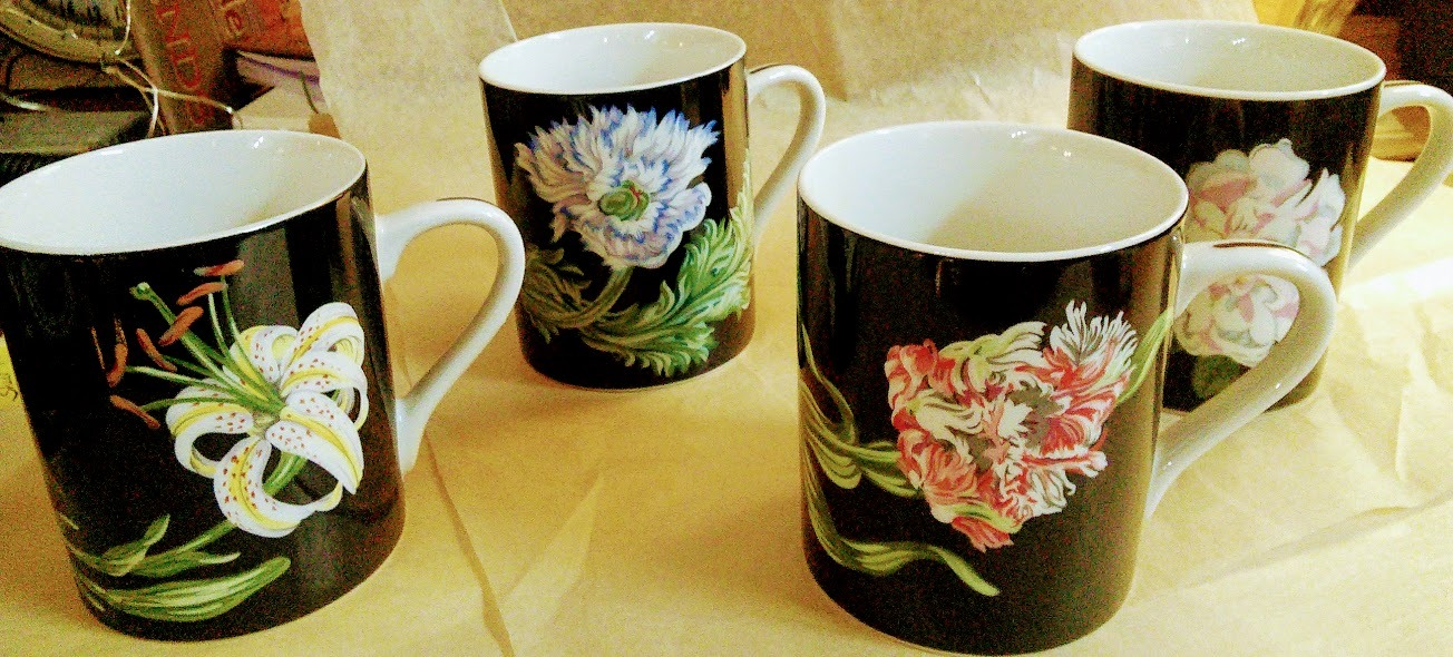 Set of 4 Tiffany & Co Mrs. Delany's Flowers Mugs Sybil Connolly