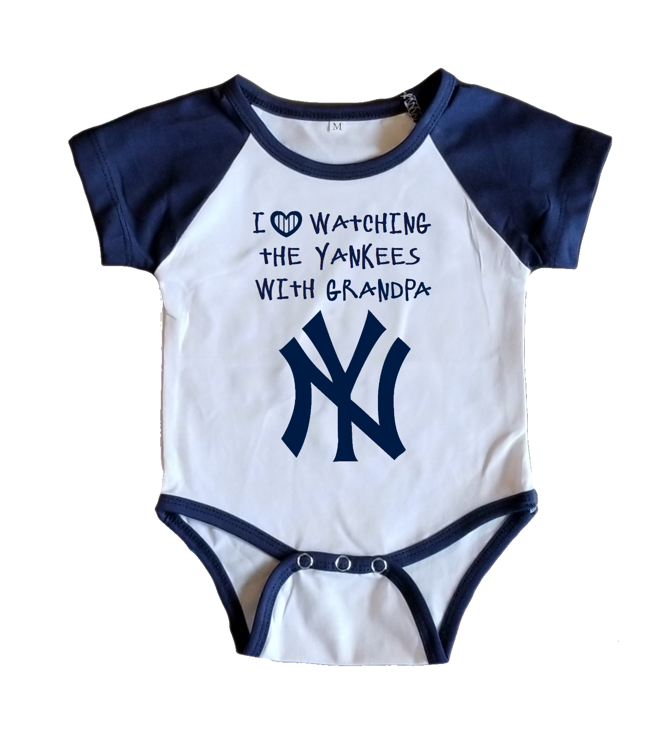 Primary image for NY Yankees Onesie Jersey New York Shirt Outfit Watching With Grandpa