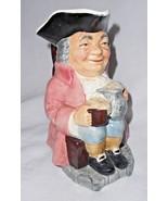 """Staffordshire Sylvac Toby Jug Pitcher Beer Mug Black Hat Red Coat 7"""" - $38.59"""