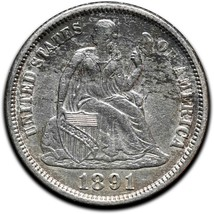 1891 Silver Seated Dime 10¢ Coin Lot# A 443 image 1
