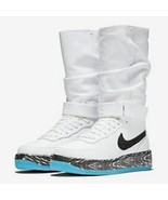 NIKE Air Force 1 Upstep Warrior N7 Women's Sneakerboot  White/Black-Turq... - $159.97
