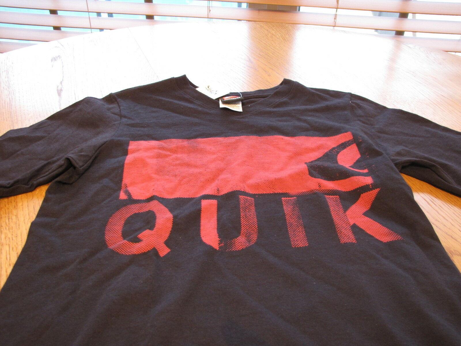 Boy's Quiksilver BTP V neck t shirt eye chart S small surf skate black