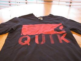 Boy's Quiksilver BTP V neck t shirt eye chart S small surf skate black image 2