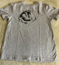 Gymboree Boys Gray Black Bulldog Short Sleeve Shirt 8 - $5.48