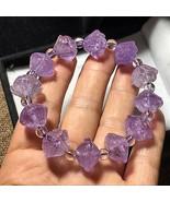 Amethyst Crystal Natural Quartz lotus carved bracelet Reiki Healing 32g ... - $38.59