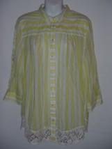 Size 12 Anthropologie Sunlit Stripe Shirt Cotton Top  Edme & Esyllte Lace Yellow - $23.12