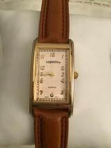 Vintage Capezio Quartz Watch Japan Movement Rectangle Brown Leather Band - $5.95