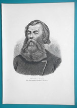 RUSSIA Portrait of Southern Russian Land Agent - 1880s Wood Engraving Print - $21.60