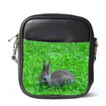 Sling Bag Leather Shoulder Bag Rabbit In Green Grass Cute Funny Animal Nature De - $14.00