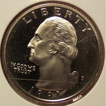 1991-S DCAM Clad Proof Washington Quarter PF65DC #839 - $3.19