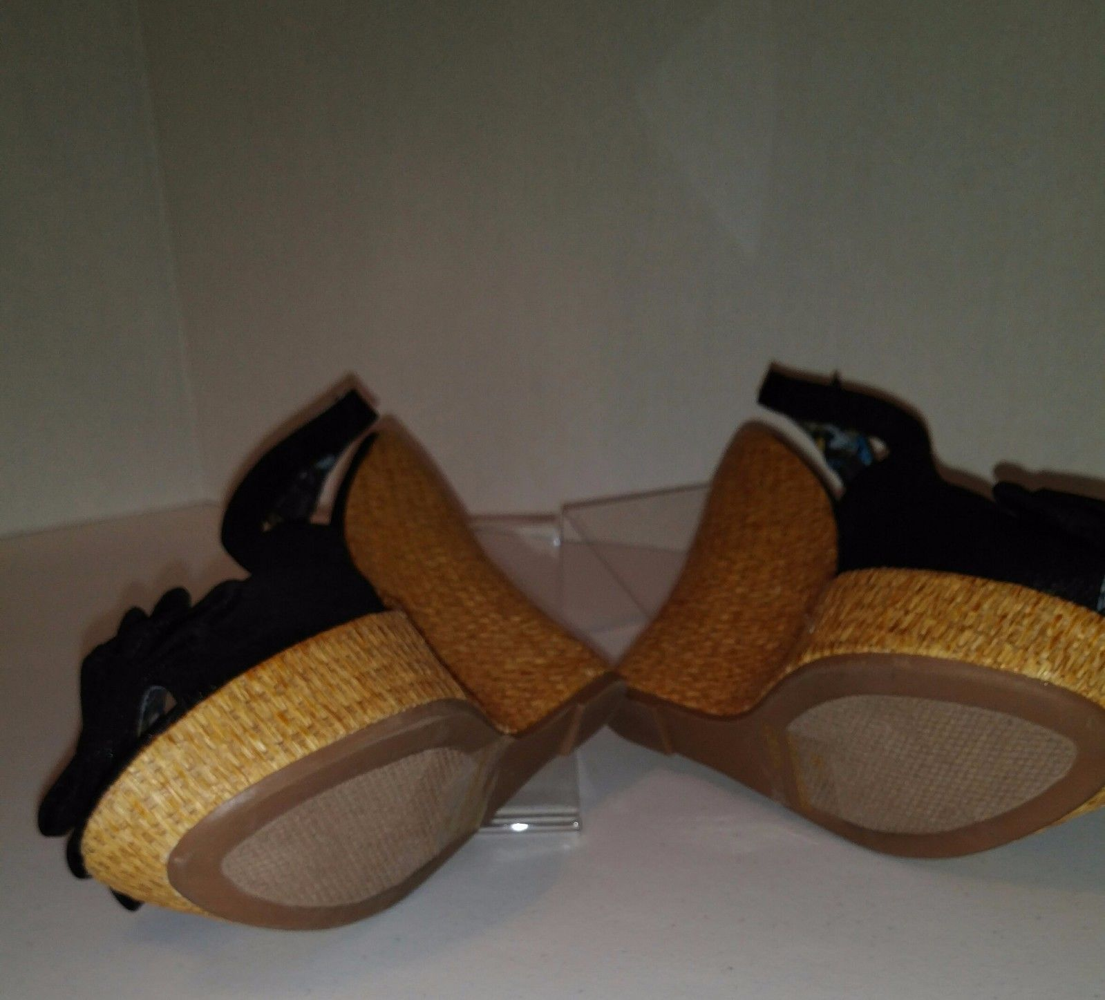 Charlotte Russe Ladies Black Fabric With Bows Woven Wedge Heel Shoes Size 7