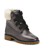 NEW TIMBERLAND GRAY LEATHER SHEARLING WATERPROOF WOMEN BOOTS SIZE 8.5 M ... - $118.74