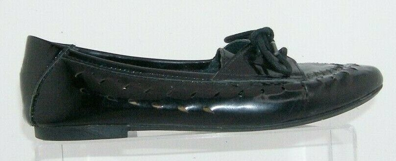 Born 'Verna' black patent leather round toe laser cut lace up loafer flats 7M 38