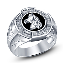 925 Sterling Silver 14k White Gold Plated Round Cut CZ Foal Horse Ring For Men's - $114.98