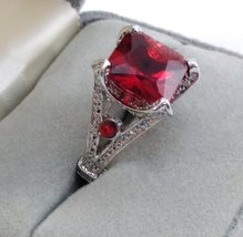 Silver Ring Square Ruby Red Color Stone SZ 6 1/2 image 1